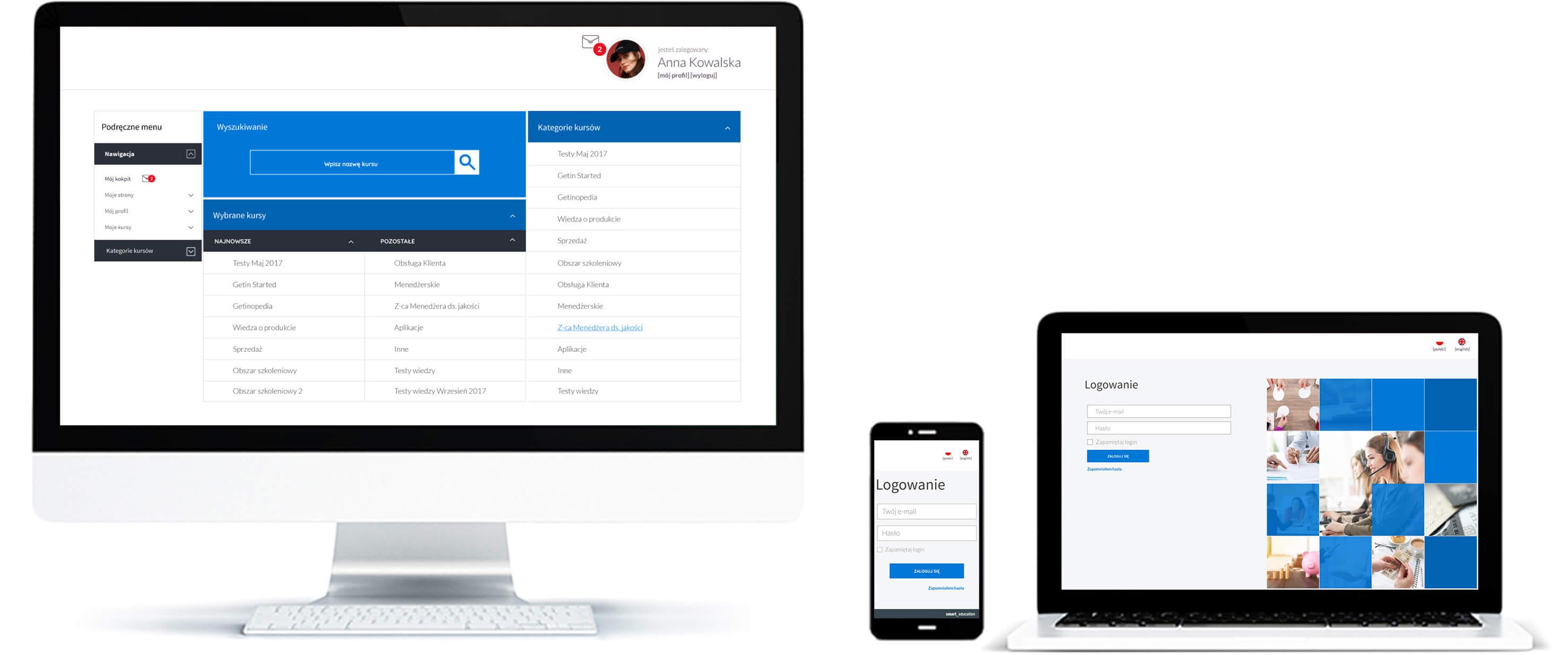 Bank i firma ubezpieczeniowa - przykładowy interface platformy do szkoleń online