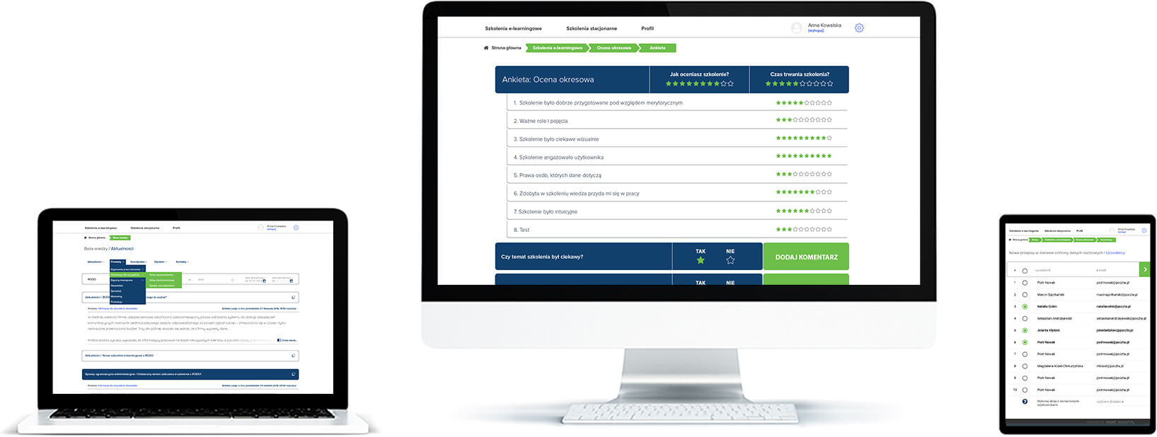 Ankieta dla użytkownika - ocena satysfakcji ze szkoleń stacjonarnych i elearningowych