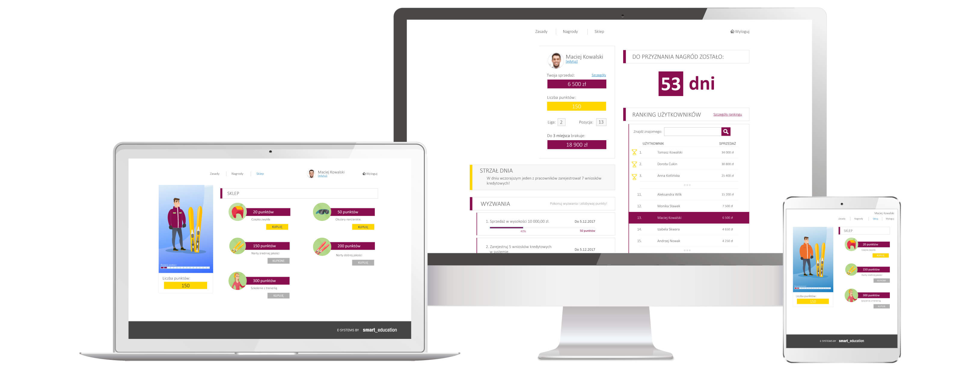 Jak zaangażować handlowców poprzez grywalizację - podgląd interfejsu użytkownika