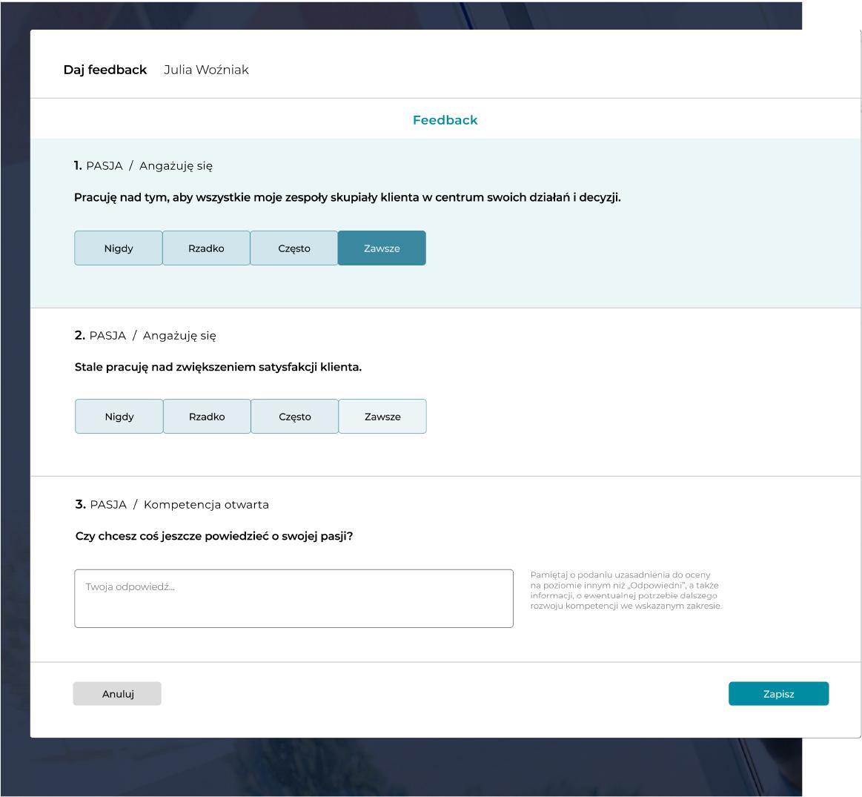 Ocena pracowników Smart Education - szybki intuicyjny konfigurator kwestionariuszy, arkuszy ocen